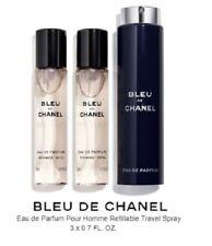 CHANEL BLUE De CHANEL 3 Piece Travel Spray Refill (3 x 0.7 oz Refills), NEW