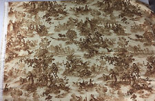"""Bloomcraft Toile Fabric French Country Brown Beige Cotton 72"""" L x 54"""" W"""