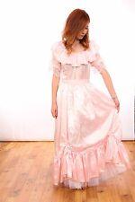 80S VINTAGE BRIDESMAID DRESS baby pink satin princess bridesmaid hen do theatre