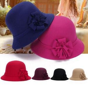 Women Ladies Vintage Imitation Wool Flower Felt Hat Winter Cloche Bucket Cap