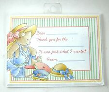 NIP MM''s Designs Girl's THANK YOU Bear Flat NOTES &ENVS (10 ct) Fill In Child