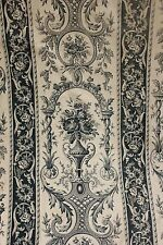 Blue Toile Antique French curtain rococo stripe floral drape c 1890