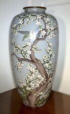 More details for very decorative, stunning & unusual large grey japanese cloisonnÉ vase