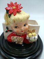 Vintage NAPCO Christmas GIRL Poinsetta Headvase Planter Headvase 1950s