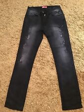gents river island black wash ripped jeans size 32
