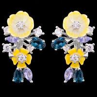 100% NATURAL 5X3MM LONDON BLUE TOPAZ TANZANITE MOP FLOWER SILVER 925 EARRING