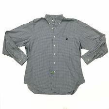 Lauren Ralph Lauren Mens Shirt 16.5 34/35 Green White Checked Crest 100% Cotton