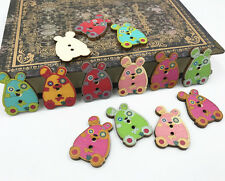 50pcs Animal Wood Buttons Mixed Rabbit shape decoration sewing Scrapbooking 30mm