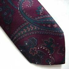 KETCH Dark Purple and Teal Paisley Design CLIP ON Neck Tie