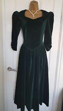 Vintage Laura Ashley Velvet Festive Evening Cocktail Dress, size 10 fits 8
