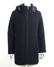 Gallery Quilted Jacket Coat Black Zip Front Detachable Hood 3/4 Length XL New