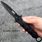 """10"""" Black Combat Tactical Assisted Open Spring Folding Dagger Pocket Knife Blade"""