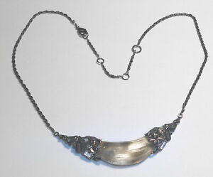 Beautiful ALEXIS BITTAR Pewter CRESCENT Gunmetal CRYSTAL Carved RESIN NECKLACE