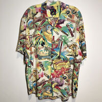VTG JAMS WORLD Rayon Shirt Mens M Cuban Cigar All Over Print USA Made Palm Trees