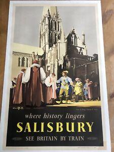 Original Vintage 1952 British Railways Salisbury Linen Backed Poster Superb