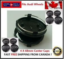 Fits Audi Wheels CENTER WHEELS RIMS HUBS CAPS 68MM BLACK Silver Circle Univesal