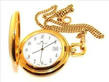 Gold tone Jean Marcel Swiss Made Quartz Pocket Watch with Crest w/ Chain