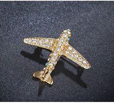 Jet Plane Brooch Women's Crystal Large Pilot Flight Attendant Airplane Pin