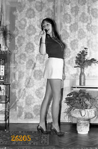 amateur singer smiling in mini skirt, stiletto shoes, legs, 1970s orig. negative