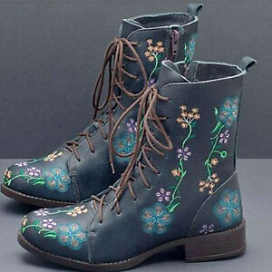 Chunky Low Heel Lace Up Shoes Womens Combat Boots Retro Floral Ankle Boots Size