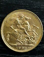 "1902 "" M "" Melbourne Full Sovereign Edward VII Gold Coin Australia"