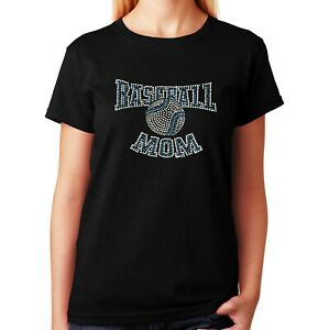 "Women's / Unisex Rhinestone T-shirt "" Baseball Mom with Aqua Blue "" in Sm to 3XL"