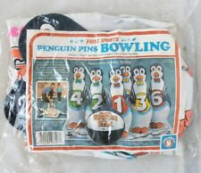 Vintage Inflatable Penguin Pins Bowling Set First Sports 1986 NOS 6 Pins & Ball
