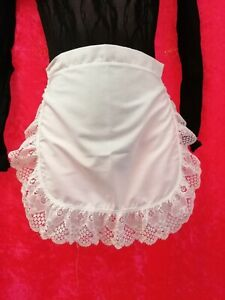 Maid White Lace Trimmed Pinny Apron French Rocky Horror Magenta Fancy Dress