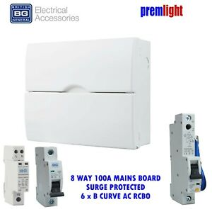 BG 18th EDITION 100A 8 WAY SURGE PROTECTED CONSUMER UNIT 6 x B CURVE RCBOs