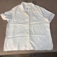 JONES NEW YORK SPORT Women's 1X Light Tan 100% Linen Short Sleeve Shirt