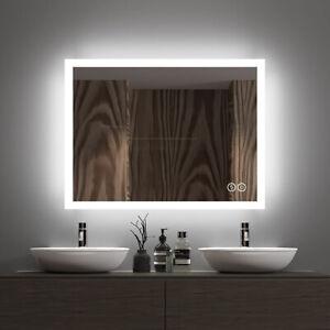 LED Bathroom Mirror w/ Bluetooth Speaker/Touch Sensor/Dimming Function/Demister
