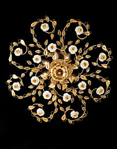 Ceiling Classic Wrought Iron Leaf Gold And Porcelain 8 Lights Pre Pl 122/80