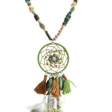 Brown and Olive Mystic Bohemian Long Buddha Bead Prayer Dream Catcher Necklace