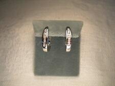 Gorgeous Estate 14K White Gold Baguette Diamond Hoop Huggie Earrings Hoops