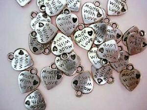 20 MADE WITH LOVE Silver Plated Charm/Tag/Craft/Bead/Beading/Jewel/Sew On K22