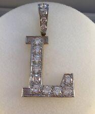 9ct Gold Cubic Zirconia Set Initial L Pendant  7.4cms  inc Bale   17.6g  NEW