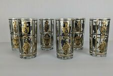 5 Vintage Highball Drinking black and gold glasses with Greek vases statues
