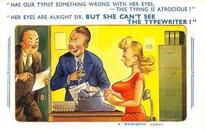 POSTCARD COMIC  TYPIST - BIG BOOBS - EYES  -  BAMFORTH # 1668