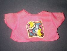 Vtg 1989 Cool Tops Skipper Barbie Doll #4989 Pink Shirt Top Phone Applique Decal