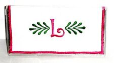 Curly Q Pink Initial L on White Cotton&Vinly Checkbook Cover CL-9 New Handmade