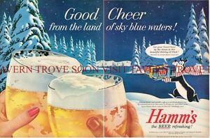 1950s Hamm's Beer Christmas Cheer Bear 12 pack case 2 page 10x21 inch Paper Ad