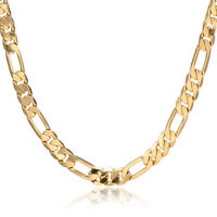 New Vintage Womens Mens 18K Gold Filled Figaro Curb Chain Necklace 24