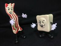 USED 2007 Accoutrements Mr Bacon Vs Monsieur Tofu Bendable Action Figures FUNNY