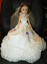 Bridal Shower Decor Doll Center Piece Wedding Party Gown Dress With Stand 15""