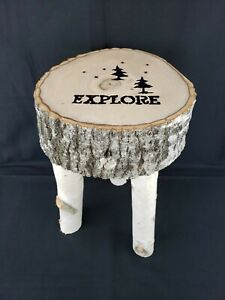 "Handmade Real Birch Wood 3 Legged Stool Cabin Furniture Trees Stars Explore 18""H"