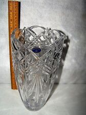 """LEAD CRYSTAL GLASS VASE 9 1/2"""" TALL X 5"""" WIDE  NO DAMAGE PERFECT CONDITION #435"""