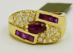 RUBY 1.10 Cts & WHITE SAPPHIRE RING 14k GOLD * New with Tag * 5.9 grams