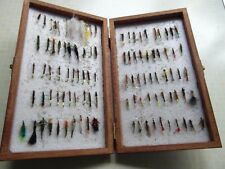 100 TROUT NYMPHS & BUZZERS IN WOODEN BOX FLY FISHING FREE P&P