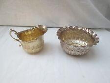 Late Victorian Silver Gilt Sugar Bowl And Cream Jug. Birmingham 1899.
