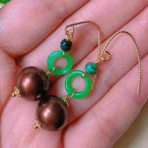 Fashion shell round pearl green jade ring earrings gift Cultured CARNIVAL